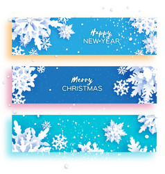 3 gorizontal merry christmas and happy new year vector image