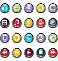 3d multimedia icons vector image