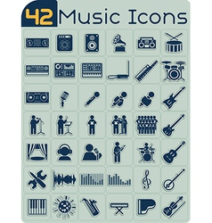 42 Music Icons Set vector image