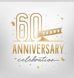 60th anniversary celebration golden template vector