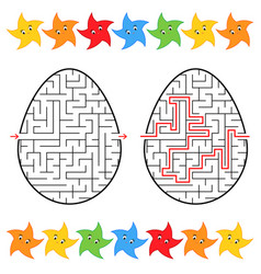 abstract labyrinth in the form of an egg black vector image