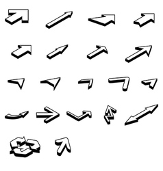 arrows isometric set vector image