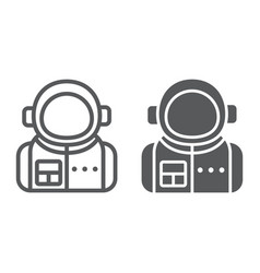 astronaut line and glyph icon spaceman and vector image