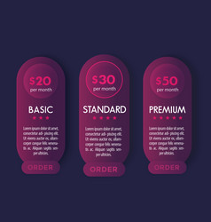 banner for tariffs with prices design vector image