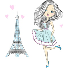 Beautiful fashion girl in an elegant short dress vector