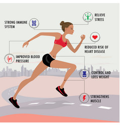 benefits jogging- fitness sport and healthcare vector image