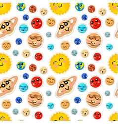 Bright cartoon planets of solar system with cute vector