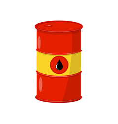 Bright red-yellow barrel with crude oil metal vector