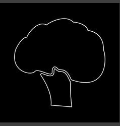 Broccoli white color path icon vector