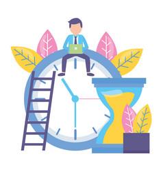 businessman clock time work vector image