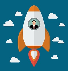 Businessman on a rocket vector image