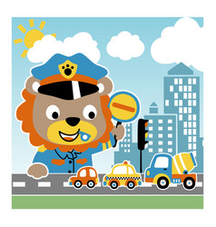 Cartoon little lion traffic cop vector