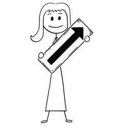 cartoon of businesswoman or woman holding arrow vector image