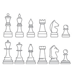 chess piece icon set outline style vector image