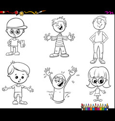 Children characters set coloring book vector