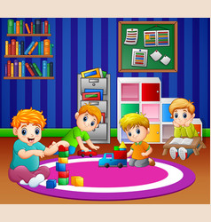 Children playing with toys in playroom kinderga vector