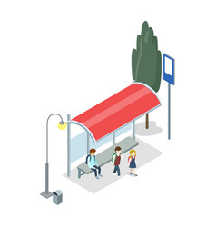 City transport stop isometric 3d icon vector
