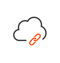 cloud technology link hyperlink icon isolated on vector image