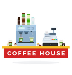 coffee counter with machine and cups flat vector image