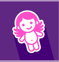 colored sticker angel vector image