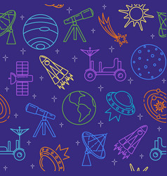 colorful seamless pattern with space icons in thin vector image