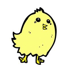 Comic cartoon happy yellow bird vector