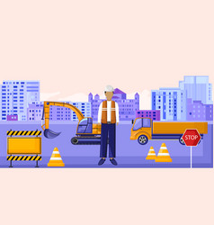 construction worker sitting in front vehicles vector image