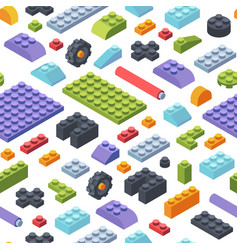 constructor kids isometric seamless pattern vector image