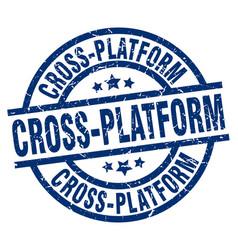 Cross-platform blue round grunge stamp vector