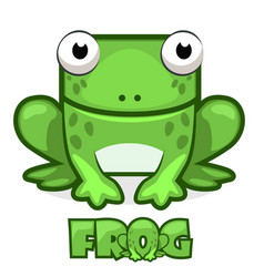 Cute cartoon square green frog vector