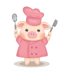 cute pig wearing pink chef uniform vector image