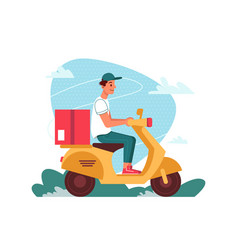 delivery courier on scooter moped with parcel vector image