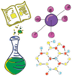 drawn picture with chemistry stuff vector image