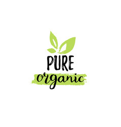Eco organic food logo healthy farm sign vector
