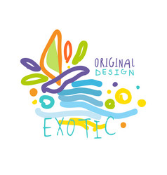 exotic logo original design summer travel vector image