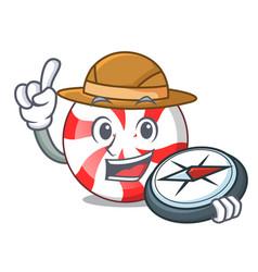 explorer peppermint candy mascot cartoon vector image