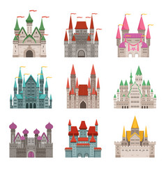 Fairytale old medieval castles or palaces with vector
