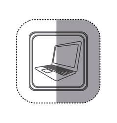figure emblem laptop technology icon vector image
