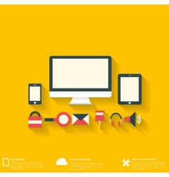 Flat abstract background with web icons Interface vector image