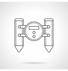 Floating robot flat line icon vector