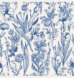 floral seamless pattern flowering vector image
