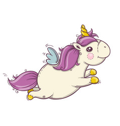 Flying cute unicorn with mane and horn wall art vector
