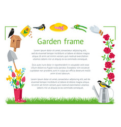 Frame rectangle garden vector