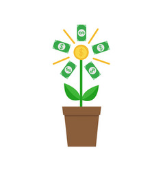 growing paper money tree shining coin with dollar vector image