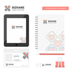 Hearts blocks business logo tab app diary pvc vector