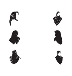 Hijab women black silhouette icons app vector