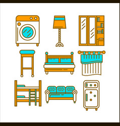 Home room furniture interior accessories and vector