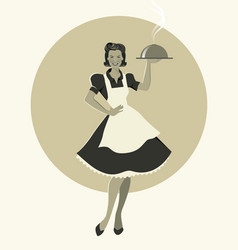 Housewife carrying a tray with dinner retro style vector
