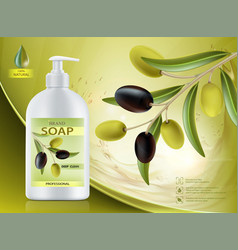 Hygienic soap dispenser with olive oil vector