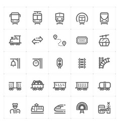 Icon set - train and transport vector
